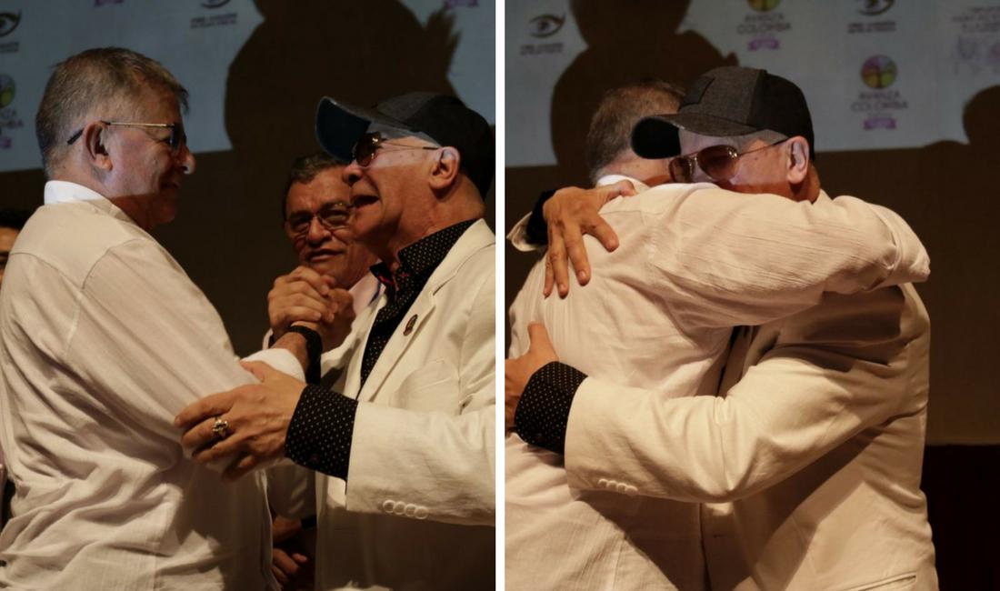 Abrazo histórico entre exjefes de las Autodefensas y de las Farc